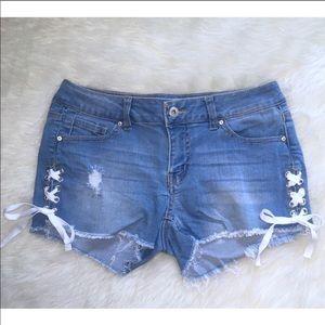 Frayed Lace-up Denim Shorts